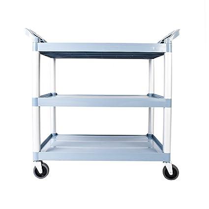 Olymstore Carrito de plástico portátil de tres niveles con ruedas y asa, carrito de servicio