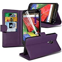 ONX3® ( Purple ) Motorola Moto G 4G (2015) 2nd generation Case Custom Made BookStyle PU Leather Wallet Flip With Credit / Debit Card Slot Case Skin Cover With LCD Screen Protector Guard, Polishing Cloth & Mini Retractable Stylus Pen
