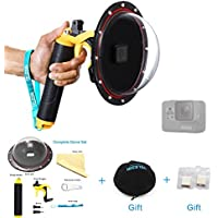 TELESIN 6 Dome Port Cover with Pistol Trigger Shutter Release for GoPro Hero 5 Camera Lens Waterproof Case Accessories Set (Dome+Trigger SET)