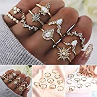 10-Piece Sunywear Women Vintage Style Rhinestone Decor Geometric Ring Set