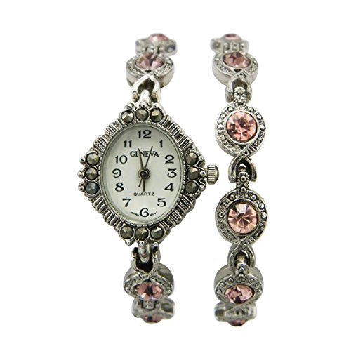 [Rosemarie Collections Women's Crystal Accented Vintage Bracelet Watch Set] (Best Mother And Son Costumes)
