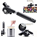 Itian Safety Manual Can Tin Opener,Stainless Steel Ergonomic Anti Slip Design with Smooth Edge Side Cut No Sharp Cuts Can Opener with Rotating Knob and Non-Slippery Handle,Lid Lifter that Won't Touch Food