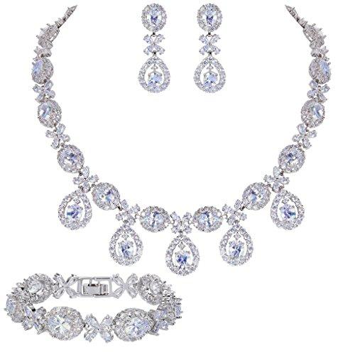 EVER FAITH Silver-Tone CZ Floral Leaves Water Drop Necklace Earrings Bracelet Set Clear