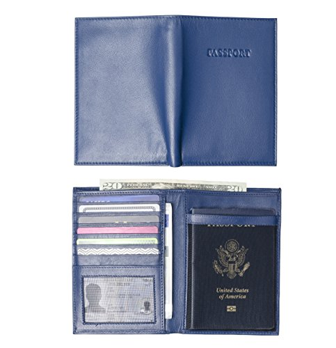 Leatherly Genuine Leather Passport Case and Wallet with Billfold (Navy Blue w/ Passport Text)