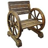 CARTWHEEL - Solid Wood Single Garden Seat / Chair - Burntwood