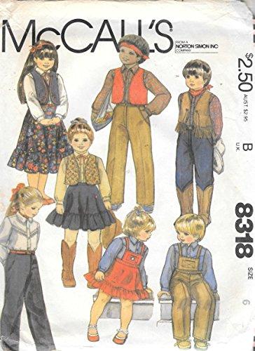 (McCall's 1982 Children Western Dance Costume Sewing Pattern # 8318)