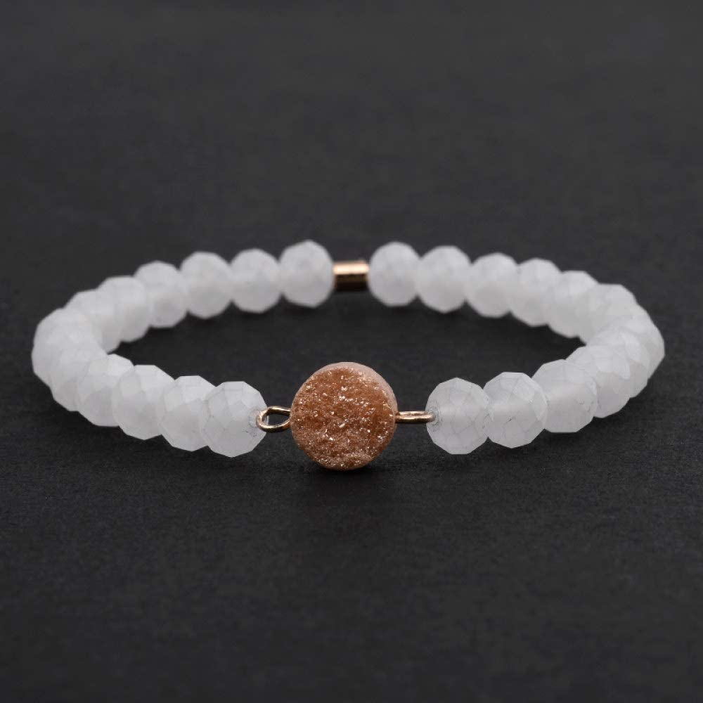 ZMMZYY Pulsera Piedra,Boho Piedra Natural de Cuarzo Blanco Pulsera de Oro para la Mujer elástico pequeño Cristal Facetada Accesorios de Moda