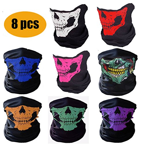 Fashion Easy Couples Seamless Skull Face, Motorcycle Face Mask,Dust-proof Windproof Motorcycle Bicycle Face Mask for Cycling, Hiking, Camping, Climbing, Fishing, Hunting (8Pcs-Color Set)