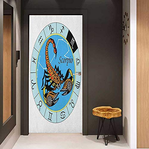 Onefzc Door Wallpaper Murals Zodiac Scorpio Round Zodiac Chart with Twelve Signs and an Esoteric Cosmic Celestial Symbol WallStickers W23 x H70 Multicolor