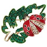 Szxc Ladybug Vegetable Leafe Crystal Enamel Collection Accessories Brooch Pin Gift Women Jewelry (Green Red)