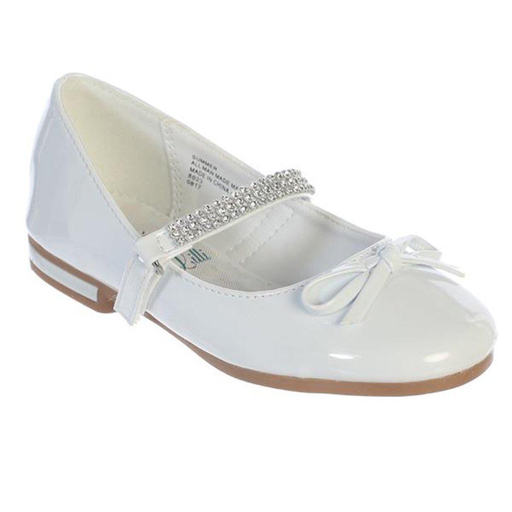 iGirldress Girls Flats With Rhinestones Strap Mary Jane Dress Shoes White Size 3