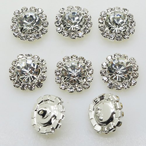 20pcs Clear Glass Round Metal Rhinestone Crystal Shank Hole Buttons Beads Bulk for Hair Flower DIY Craft Decor Shank and Flat mix