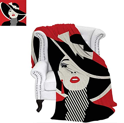 (Lightweight Blanket French Style Icon in Shabby Chic Classical Vintage Hat and Striped Coat Design Print Digital Printing Blanket 70