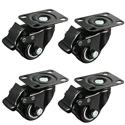 meccion 1,5 pulgadas Rueda giratoria Ruedas de goma Base & doble rodamiento resistente con freno juego de 4: Amazon.es: Amazon.es