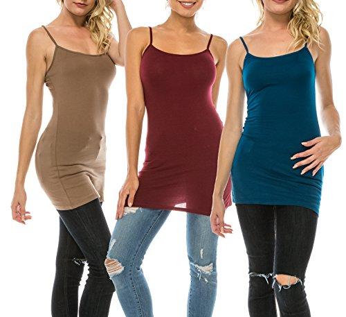 (Nolabel [WT362 Multi Color 3 Pack Women's Basic Active Long Length Adjustable Spaghetti Strap Cami Tank Top 3P [BMU/DBG/TE] XL)