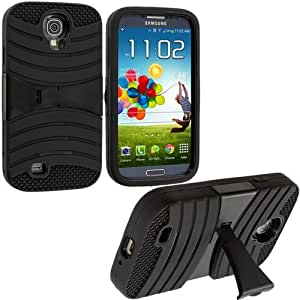 Accessory Planet(TM) Black / Black Hybrid Heavy Duty Hard/Soft Silicone Case Cover with Horizontal Stand for Samsung Galaxy S4