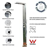 316 Marine Grade Stainless Steel Massage Outdoor Indoor Shower Panel Unit CUPC Registered (WND) Swimming Pool Backyard Bathroom Hot & Cold Rainfall Waterfall Hand Held Wall Mounted or Free Standing