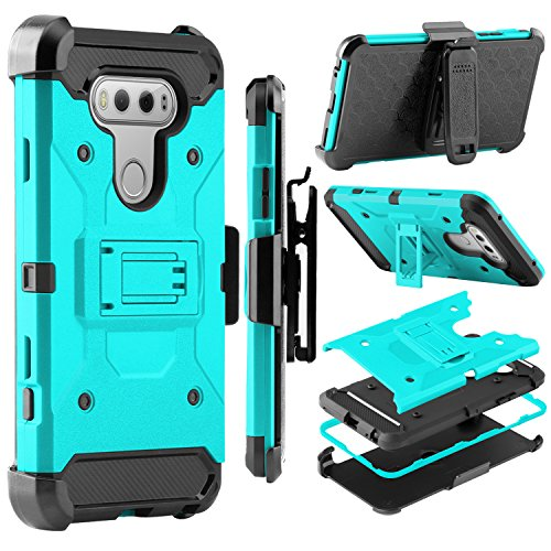LG V20 Case, Zenic Shock Resistant Hybrid Tri-Layer Armor Defender Protector Case Cover with Belt Swivel Clip and Kickstand for LG V20 All Carriers (Green)