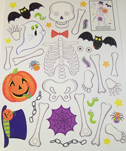 Halloween Reusable Window Cling ~ Build Your Own Skeleton (41 Clings, 1 Sheet)
