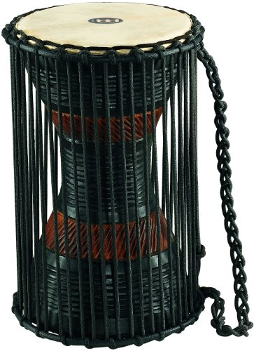 Meinl African Talking Drum with Mahogany Wood Shell and Wooden Beater - NOT MADE IN CHINA - Medium Size Goat Skin Heads, 2-YEAR WARRANTY (ATD-M) ()