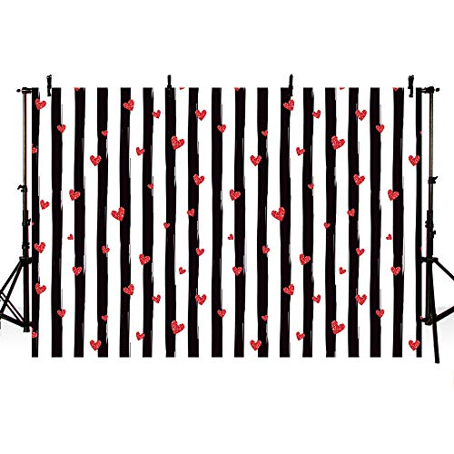 MEHOFOTO Valentine's Day Photo Studio Background Black and White Stripe Red Hearts Love Pattern Birthday Party Decoration Banner Backdrops for Photography 8x6ft