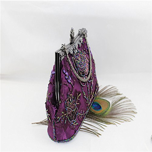 Vintage Purse Evening Women Pattern Sequinned Handbag Rose Bag Clutch Purple Beaded 6Iq6rw0