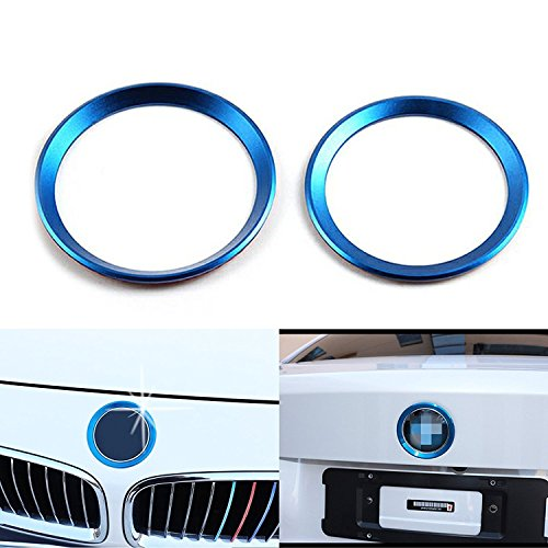 1 Set Car Front and Rear Logo Blue Ring Decoration For BMW 3 4 Series M3 M4 E36 E46 E90