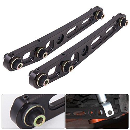 Aluminum Lower Rear Control Arms (Jdm Rear Aluminum Suspension Lower Control Arms LCA Kit Pair Black For Honda Civic EG Del Sol Acura Integra)