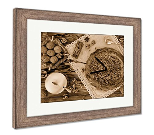 Pie Apple Walnut - Ashley Framed Prints Piece of Apple Pie with Walnut and Sugar Glaze, Wall Art Home Decoration, Sepia, 26x30 (Frame Size), Rustic Barn Wood Frame, AG6348376
