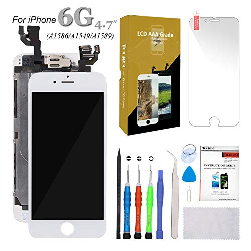 SmartShop for iPhone 6 Screen Replacement 4.7 White LCD Display with Touch Screen Digitizer Full Assembly + Front Camera + Earpiece + Free Screen Protector + Repair Tools Kit (iPhone 6 Screen White)