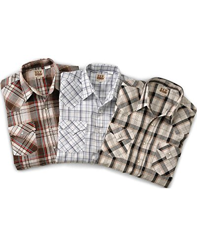 ELY CATTLEMAN Men's Assorted Plaid and Stripe Long Sleeve Western Shirts Big Plaid XXX-Large Tall (Tall Shirt Western Stripe)