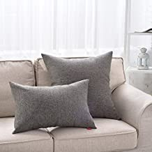 "MochoHome Linen Square Decorative Solid Throw Pillow Cover Case Pillowcase Cushion Sham - 26"" x 26"", Dark Grey"