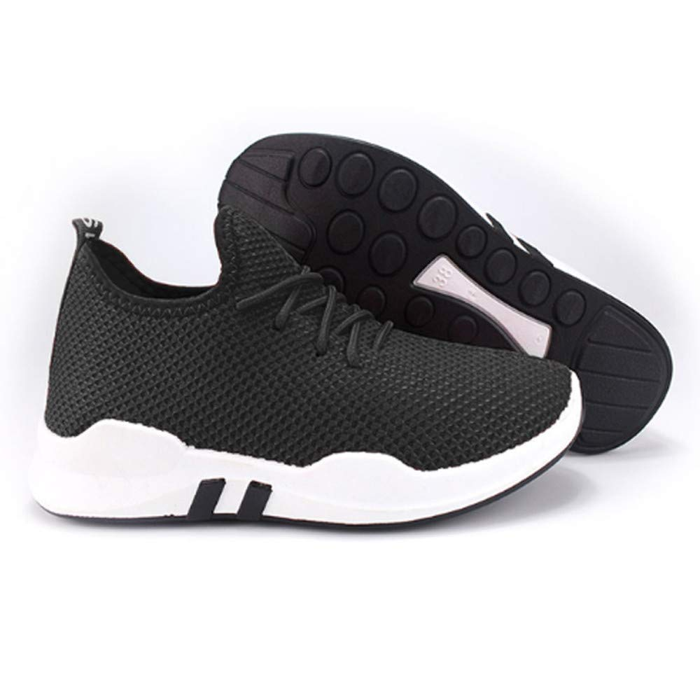 KESEELY Women Running Trainers Shoes Lace Up Cloth Flat Comfy Fitness Gym Sports Walking Mesh Shoes Black