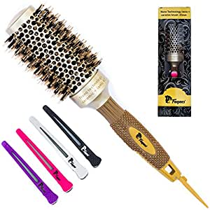 Fagaci Round Barrel Hair Brush with Natural Boar Bristle, Nano Ceramic+Ionic Technology and 4 Hair Clips for Hair Drying, Styling, Curling, Healthy Hair, Shine, Straighten and Add Volume (1.7 inch)
