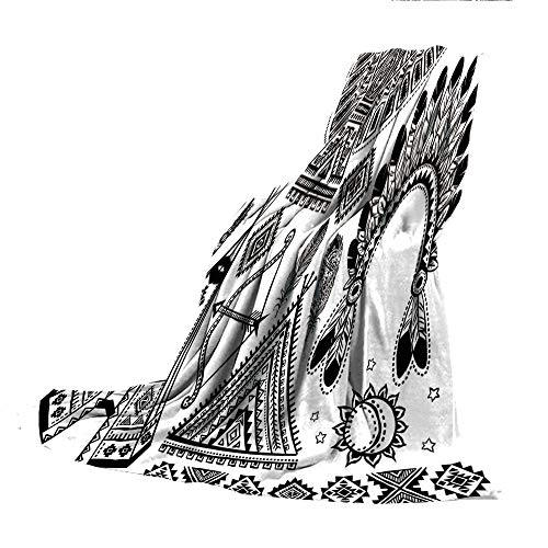 SCOCICI Super-Thick Flannel Warm Sofa or Bed Blanket,Tribal,Native American Feather Head Band Ethnic Teepee Tent Bow and Arrow Art Print,Black and White,39.37