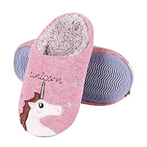 Girl's Cute Unicorn House Slippers Memory Foam Indoor Slippers Comfy Fuzzy Knitted Slip On Cotton Slippers with Anti…