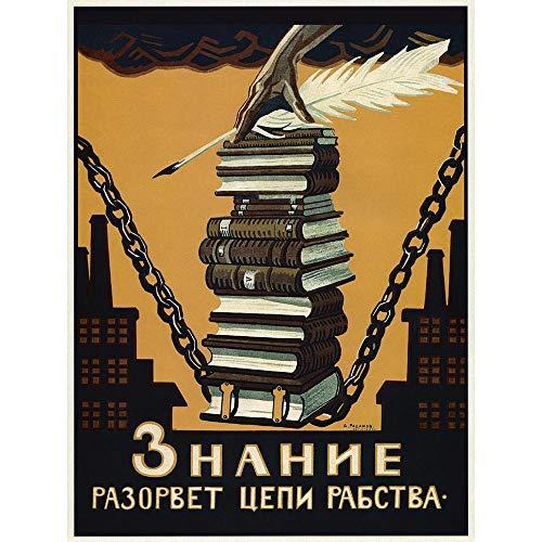 Wee Blue Coo Political Propaganda Knowledge Break Chains Slavery Soviet Union Unframed Wall Art Print Poster Home Decor ()