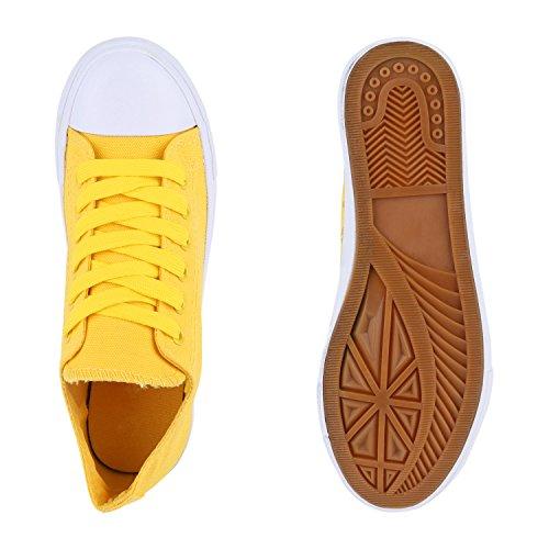 Damen Sneakers Sportschuhe Sneaker Low Denim Stoffschuhe Blumen Camouflage Flandell Gelb Weiss Weiss