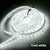 Raylix Led Strip Lights SMD 5050 16.4Ft (5M) 300leds Cool White 60leds/m with Power Supply for Party Wedding Festival Holiday Shows Commercial Building Shopping Center and Other Celebration Occasions.