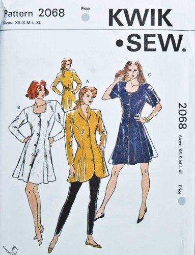 Kwik Sew 2068 Princess Line Tunic and Short Dress Sizes XS-S-M-L (Bust 31.5