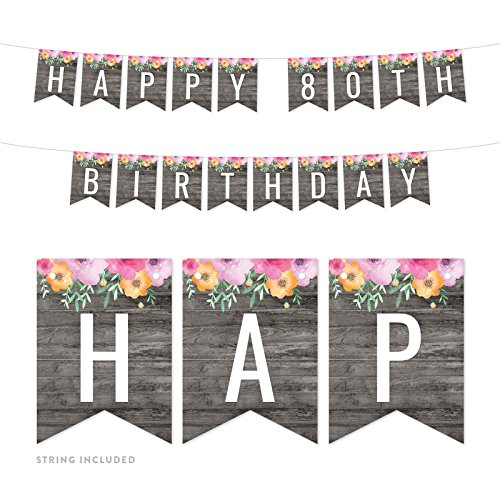 Andaz Press Modern Gray Wood with Flowers Birthday Party Banner Decorations, Happy 80th Birthday, Approx 5-Feet, 1-Set, Milestone Floral Colored Hanging Pennant Decor ()