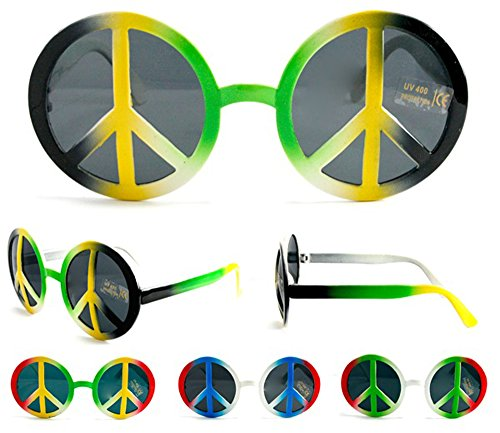 1 Pair Rasta Peace Sign Novelty Birthday Party Glasses - Costume Dressup Sunglasses for Men or (Peace Costumes)