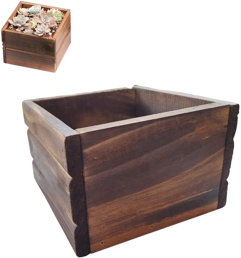 "Arlai Rustic Cube Planter Box, Rustic Style Succulent Plant Pots, Wood Decorative Craft Box, 5.9"", 1pcs"