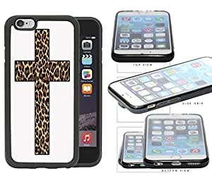 Cute Religion Leopard Print Cross Rubber TPU Cell Phone Case Cover iPhone 6 (4.7 INCH SCREEN)