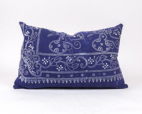 LANE Authentic VINTAGE Chinese Batik Pillow // Blue & White // Decorative Throw Pillow