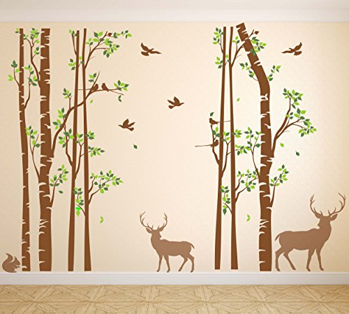 Nursery Birch Tree Wall Decal Forest with Birds and Deer Vinyl Sticker Removable JGD (96'' (8 feet)) by Just Good Deal