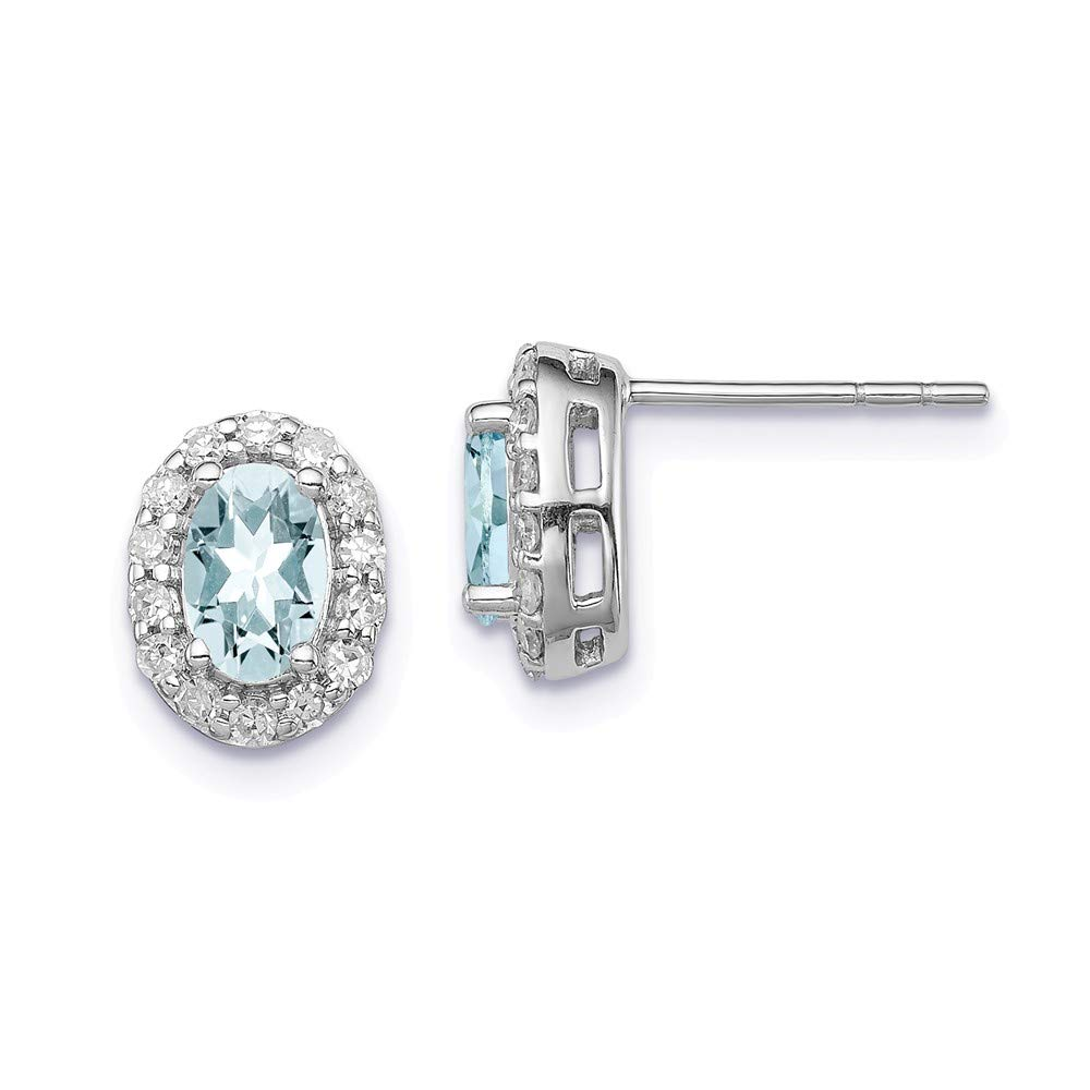Sterling Silver Rhodium Plated Dia. & Aquamarine Oval Post Earrings