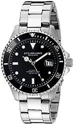 Stuhrling Original Men's 792.01 Aquadiver Analog Display Automatic Self-Wind Silver-Tone Watch