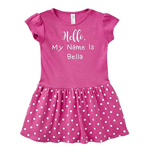 Belle Isle Dress - Hello, My Name is Bella - Personalized Name Dress for Baby & Toddler (Raspberry/White 24 Months)