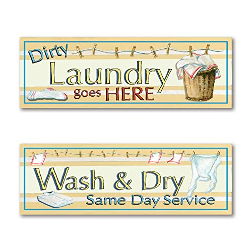 Dirty Laundry Print - Retro Dirty Laundry and Wash and Dry Signs; Laundry Room Decor; Two 18X6 Poster Prints